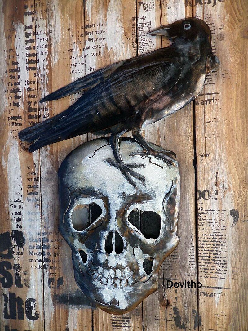 Bild 3D Holz Blech Retro Blechschild Rabe auf Totenkopf mit Metall 60 x 40 cm