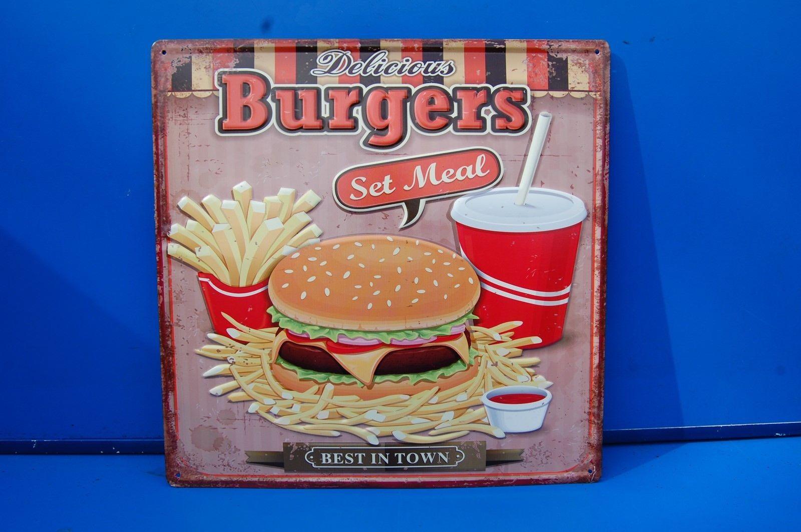 Wandschild Nostalgie Schild, Burgers, Wandbield, Reklame Schild 38 x 38 cm