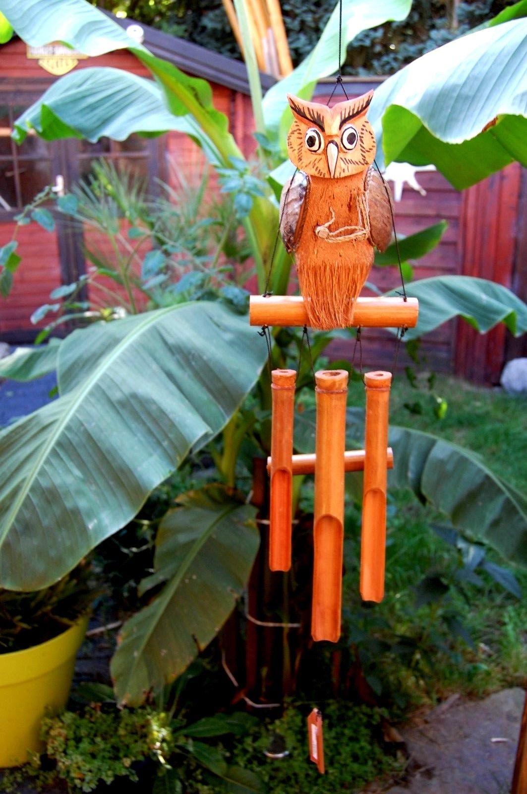 WINDSPIEL TWISTER BUNT Klangspiel Bambuswindspiel Eule 20 x 95 cm