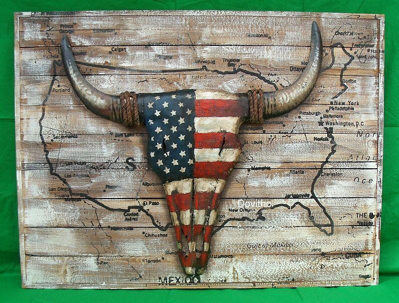 Bild 3D Holz Blech Schild Retro Blechschild USA Karte mit Metall 100 x 75 cm