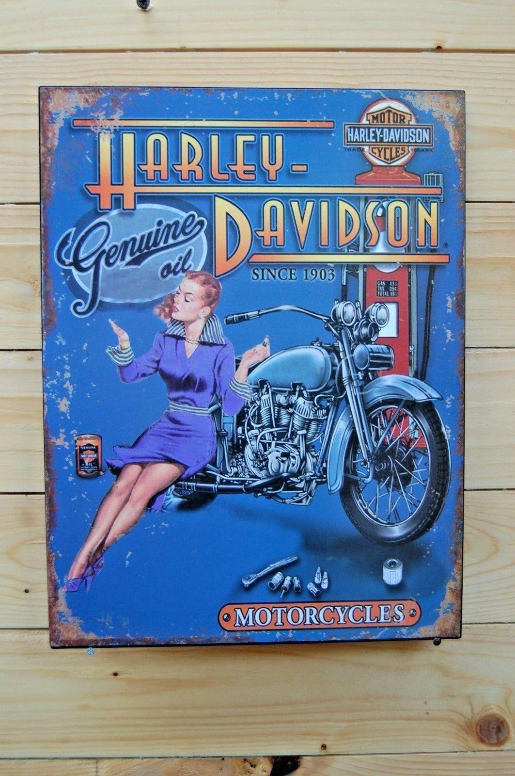 Blech Schild Retro Blechschild Harley-Davidson - Genuine oil in blau 25 x 33 cm