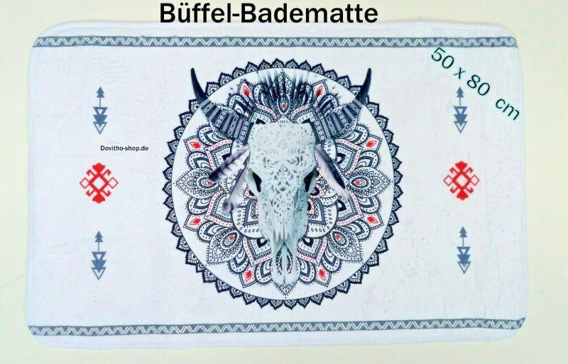 Büffel Duschvorleger Frottee Badvorleger Badteppich Badematte 50 x 80 cm weiß