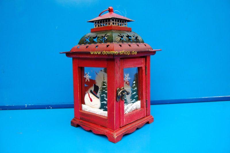 Weihnachtslaterne Rot hängend oder stehend, Holzlaterne  Weihnachtsdeko