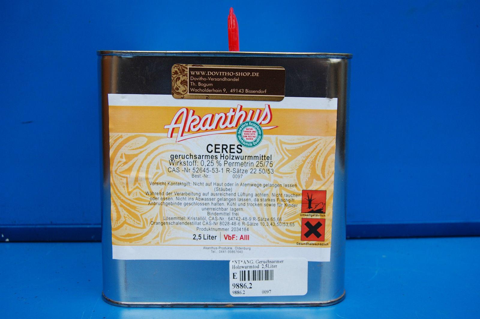 (1 L/ 20,80€) Holzwurmtod Holzwurm Ex Ceres Holzwurmmittel von Akanthus in 2,5 l
