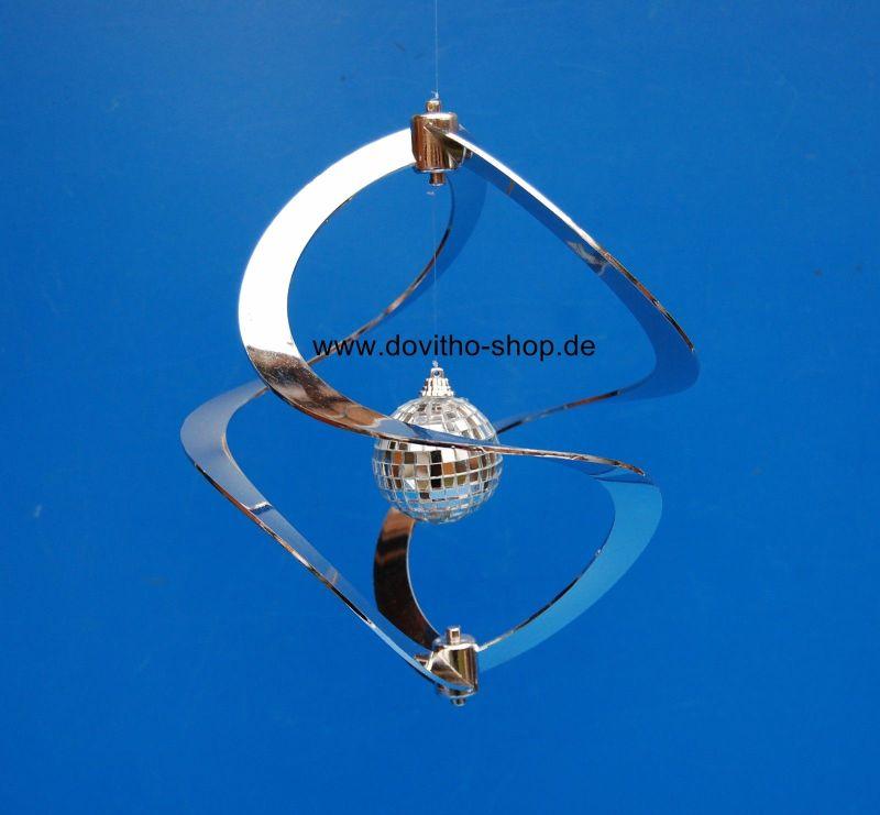 WINDSPIEL TWISTER BUNT, Windspirale, Unruhe, Deko, Windspiel Silber 27 cm